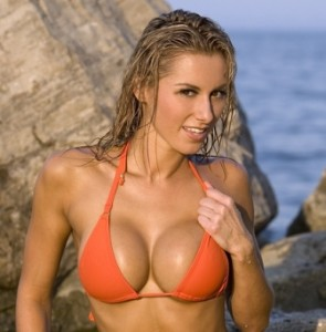 Sexy Big boob Blond on beach